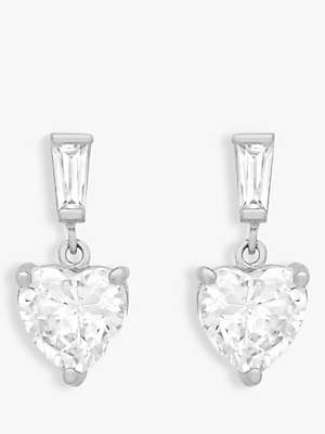 IBB 9ct White Gold Cubic Zirconia Heart Drop Earrings, White