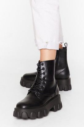 Nasty Gal Womens Things Just Got Cleated Platform Faux Leather Boots - Black - 3