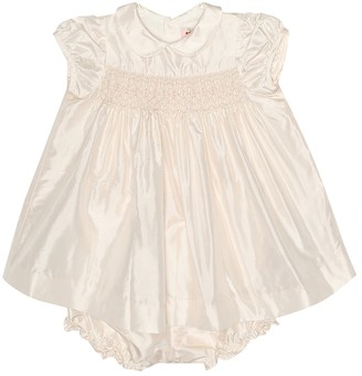 Bonpoint Baby Precieuse silk dress and bloomer set
