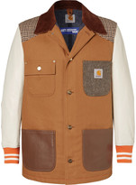 Junya Watanabe - + Carhartt Corduroy-trimmed Leather, Canvas And Tweed Chore Jacket