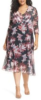 Komarov Plus Size Women's Chiffon & Charmeuse A-Line Dress