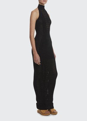 Balmain Long Transparent-Striped Bodycon Halter Dress