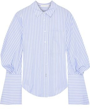 Jonathan Simkhai Gathered Striped Cotton-poplin Shirt