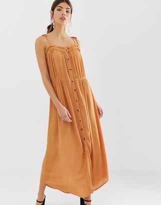 Y.A.S festival cheesecloth button through maxi dress-Brown