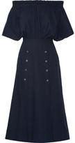 Saloni Dakota Off-the-shoulder Stretch Cotton-poplin Midi Dress - Navy