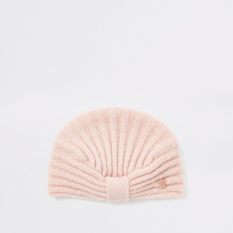 River Island Baby Pink rib knitted turban hat
