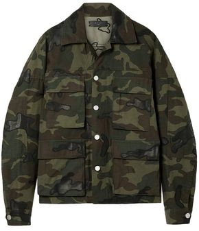Amiri Leather-appliqued Camouflage-print Cotton-canvas Jacket