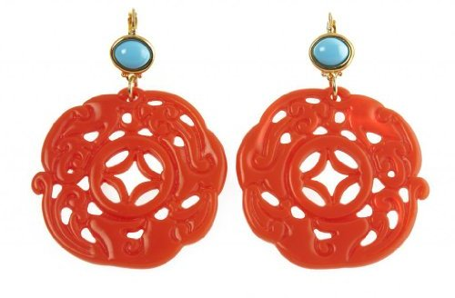 Kenneth Jay Lane Faux Carved Coral Clip On Earrings with Turquoise Beads Costume Fashion Jewelry