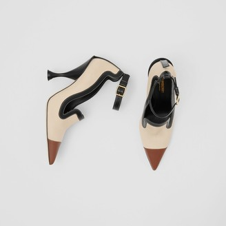 Burberry Cotton Canvas and Leather Point-toe Pumps