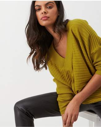 River Island Ribbed V Neck Jumper - Ochre