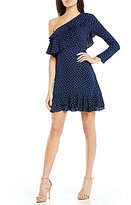 WAYF Laci Dotted Ruffled One-Shoulder Fit-and-Flare Dress