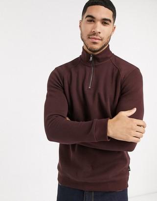 Burton Menswear half zip jumper in burgundy
