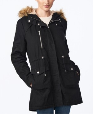 Collection B Juniors' Faux-Fur-Trim Hooded Anorak Coat
