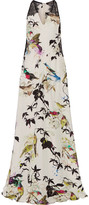 Roberto Cavalli Lace-paneled printed silk crepe de chine gown