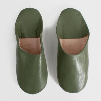 Bohemia Moroccan Babouche Slippers In Olive Green - Small