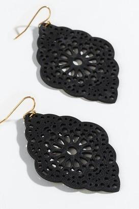 francesca's Sofia Laser Cut Leather Earrings - Black