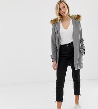Naf Naf coat with big pockets and faux fur hood