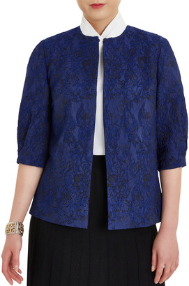 Misook Puff Sleeve Floral Embroidered Woven Jacket