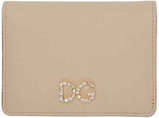 Dolce & Gabbana Pink Crystal Logo Bifold Card Holder