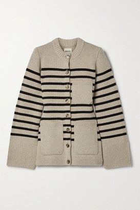 KHAITE Suzette Striped Stretch-cashmere Cardigan - Beige
