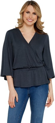 Lisa Rinna Collection Solid Surplice Top with Peplum