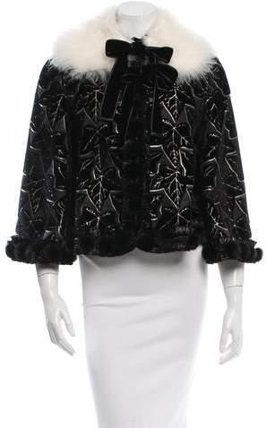 Alexander McQueen Velvet Oak Leaves Mink Fur Jacket w/ Tags