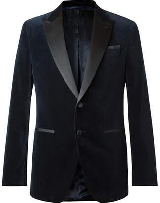 HUGO BOSS Navy Helward Slim-Fit Satin-Trimmed Cotton-Velvet Tuxedo Jacket