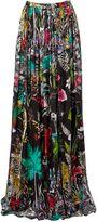 Matthew Williamson Midnight Jungle Print Silk Maxi Skirt