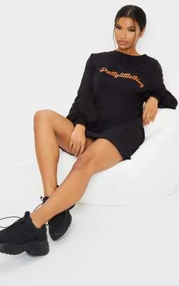 PrettyLittleThing Zero Black Oversized Long Sleeve Jumper Dress