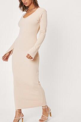 Nasty Gal Womens Split Sleeve Ribbed Maxi Dress - Beige - 10