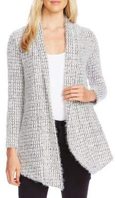 Vince Camuto Houndstooth Draped Front Open Cardigan