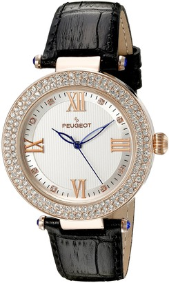 Peugeot Women's 14K Rose Gold Plated Roman Numeral Silver Textured Face Black Leather Band Dress Watch