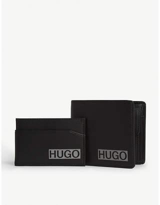 HUGO Logo print leather wallet and card case set