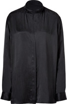 Black Washed Silk Blouse with Stand Up Collar