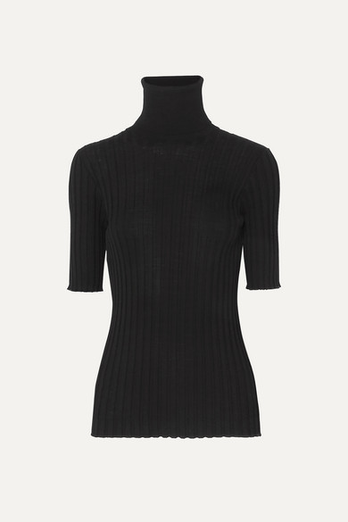 Bottega Veneta Ribbed Merino Wool-blend Turtleneck Sweater - Black