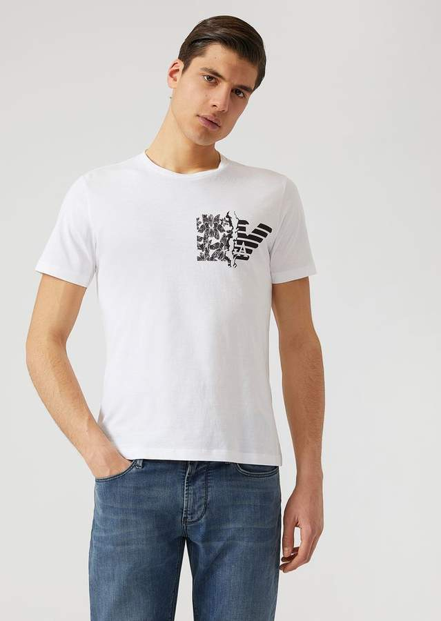 Emporio Armani Jersey T-Shirt With Branded Floral Print