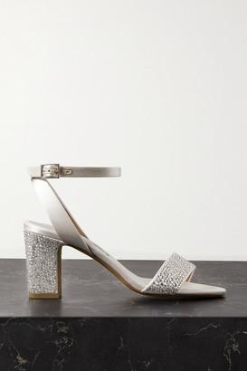 Tabitha Simmons Leticia Swarovski Crystal-embellished Satin Sandals - Neutral