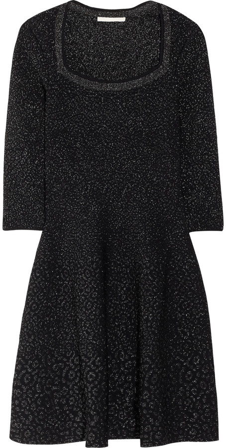 Antonio Berardi Glitter-intarsia stretch-knit dress