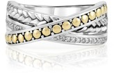 Effy Jewelry Effy 925 Sterling Silver & 18K Yellow Gold Diamond Accented Ring, 0.09 TCW
