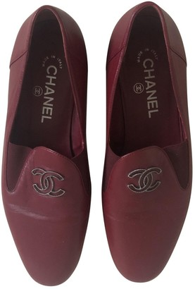 Chanel Burgundy Leather Flats