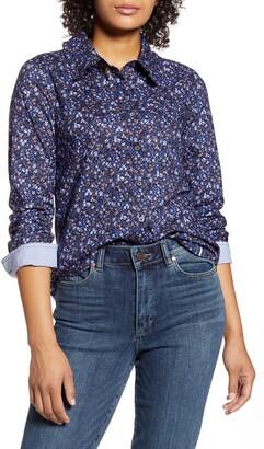 Court & Rowe Ditsy Crush Ruffle Collar Cotton Button-Up Shirt