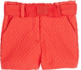 Lanvin COTTON-BLEND PLISSÉ SHORTS-ORANGE SIZE 4