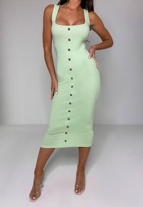 Missguided Green Rib Tortoiseshell Button Midaxi Dress