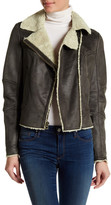 Lucky Brand Faux Shearling Trim Faux Suede Moto Jacket