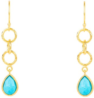 Latelita Linked Gemstone Drop Earring Gold Turquoise