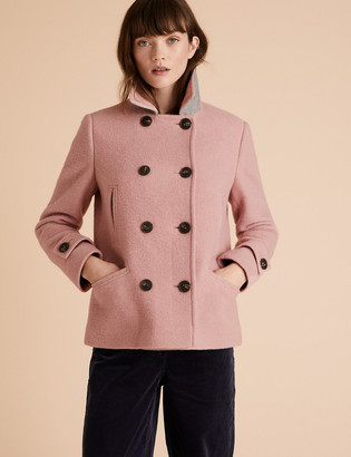 Marks and Spencer Wool Double Breasted Short Pea Coat