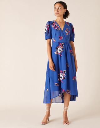 Monsoon Lucia Floral Sequin Tea Dress Blue