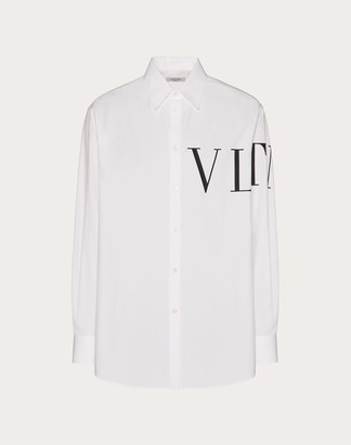 Valentino Vltn Print Shirt Man White/ Black Cotton 100% 39