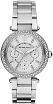 Michael Kors Silvertone Mini Parker Stainless Steel Crystal Bezel Ladies Bracelet Watch