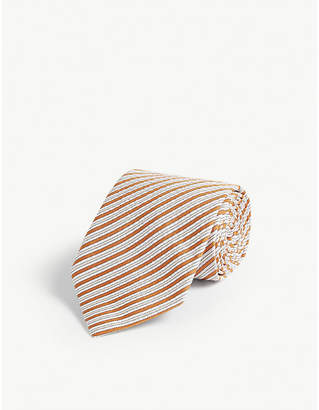 Eton Striped print wool, cashmere and silk-blend tie